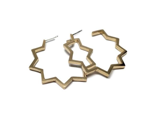 Gold Geometric Hoop Earrings | Zig Zag Hoop | Gold Hoop Earrings by Sarah Cecelia by SarahCecelia