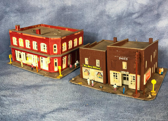 Vintage Lot of Small Town Buildings Stores Apartments with Figures, N Scale  by VintageGoofball