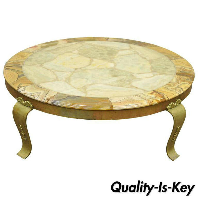 Brass and Onyx Round Coffee Table by Muller's of Mexico Attr. to Arturo Pani