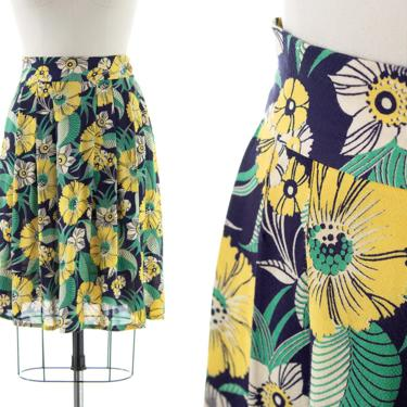 Vintage 1930s Skirt   30s Floral Printed Rayon Cotton High Waisted Blue Green Yellow Skirt (small) by BirthdayLifeVintage