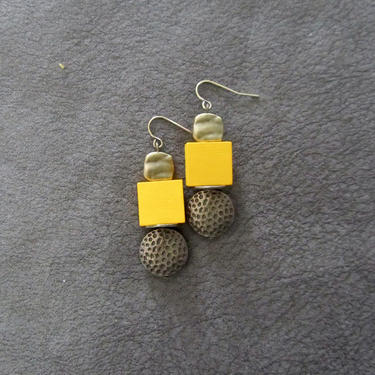 Yellow wood, brass animal print earrings, Afrocentric dangle earrings, mid century modern earrings, African earrings, bold statement, unique by Afrocasian