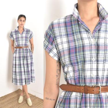 Vintage 1980s Dress / 80s Plaid Cotton Midi Shirtdress / Green Blue White ( medium M ) by lapoubellevintage