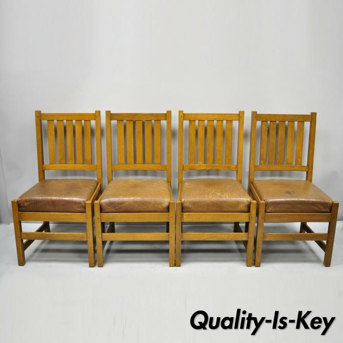 4 Antique Mission Oak Arts & Crafts Stickley Style Dining Chairs Leather Seats