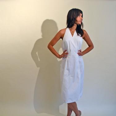 vintage 70s Ellen Tracy dress white cotton sundress 70's halter 1970s casual summer xs-m by levintagecult