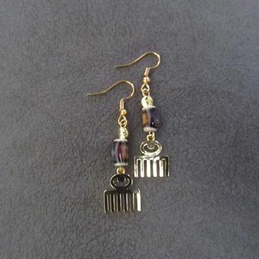 Afro pick earrings, adinkra symbol earrings, beauty earrings, bold statement earrings, Afrocentric earrings, comb earrings, brass earrings 6 by Afrocasian