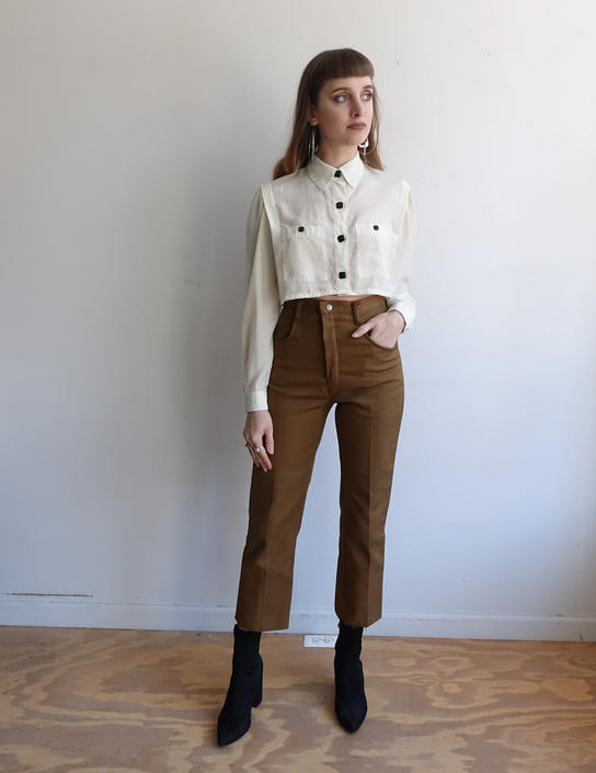 Vintage 60s Brown Tapered Trousers/ 1960s High Waisted Cigarette Pants/ size 25 by bottleofbread