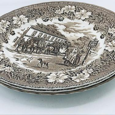 Vintage- (3) Royal Tudor Ware Coaching Taverns Brown (1828) Dinner Plate Brown Transferware by JoAnntiques