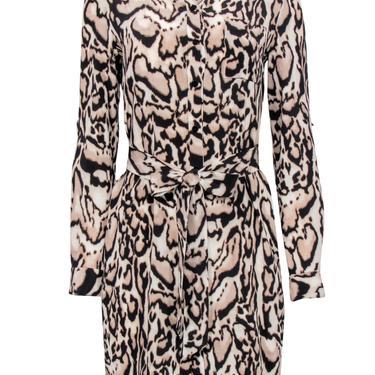 Diane von Furstenberg - Leopard Print Button-Up Silk Shirt Dress w/ Tie Belt Sz 6