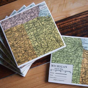 1947 Michigan Handmade Repurposed Vintage Map Coasters Set of 6 - Ceramic Tile - Repurposed 1940s Atlas - Lake Michigan and Upper Peninsula by allmappedout