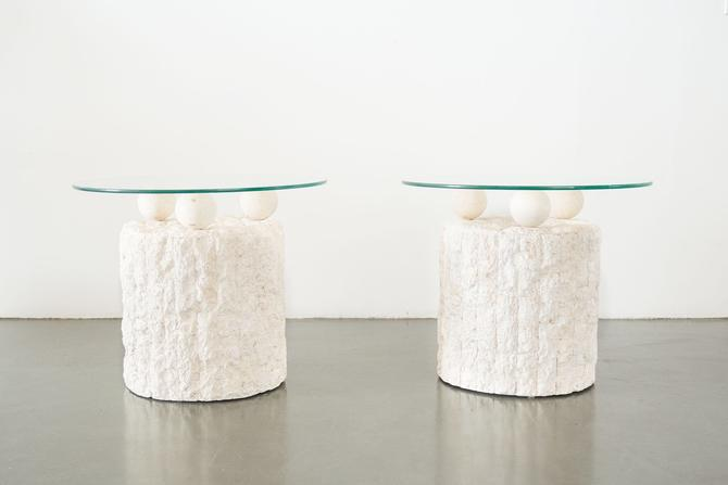 Pair of Magnussen Ponte Stone Side Tables
