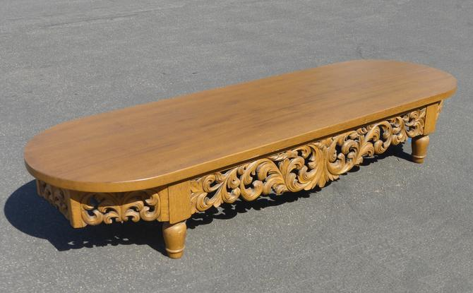 """Vintage 96"""" Long Mid Century Modern Coffee Table Carved Scrolls Gothic by VintageLAfurniture"""