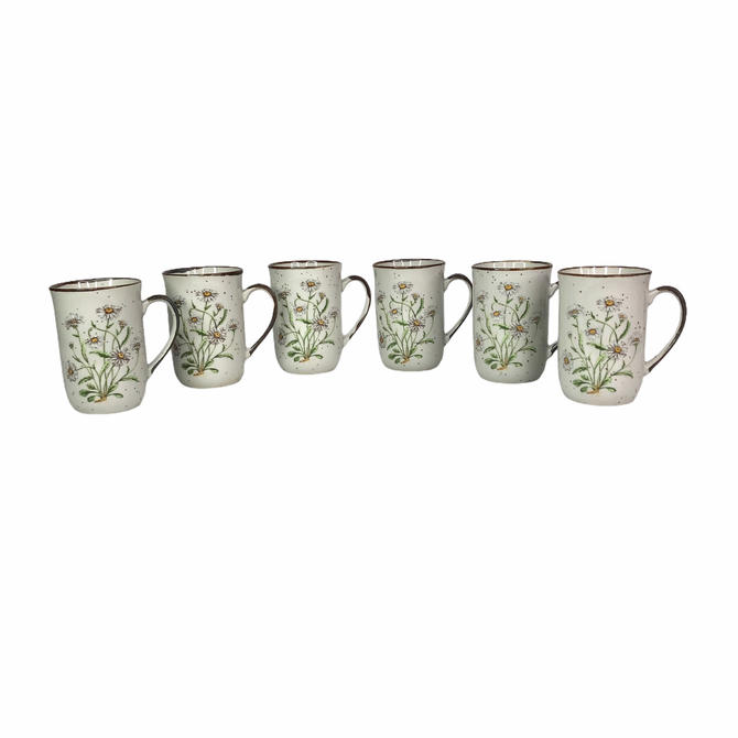Vintage Japanese Field Daisy no.103 Speckled Coffee Mugs, Set of 6 by Northforkvintageshop