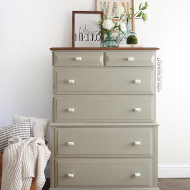 Tall Green Dresser - Painted Furniture, Vintage Dresser, Farmhouse Decor, Green Highboy, Chest of Drawers, Modern Dresser, Highboy Dresser by ARayofSunlight