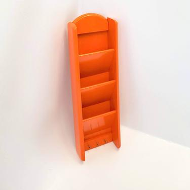 Mail Holder Key Hook Orange Wall Sorter Rack Organizer Office File Letter Valet Phone Storage MCM Shelf Filing System Home Business Wood by MakingMidCenturyMod