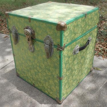 Metal Storage Chest Trunk Locker Cube Covered in Flower Wallpaper Shelf Paper Bedside Table Lamp Table Storage Box by kissmyattvintage
