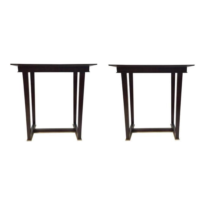 Paul Aubriot for Henredon Modern Dark Wood End Tables Pair