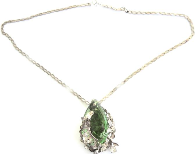 Green Crystal and Rhinestone Pendant on Silver Tone Chain by LegendaryBeast