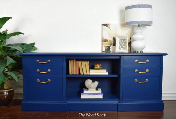 Navy Blue And Gold Credenza