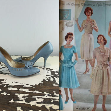 There Was Always An Occasion - Vintage 1960s Baby Blue Bow Leather High Heels Pumps Shoes Stilettos - 5/5.5 by RoadsLessTravelled2