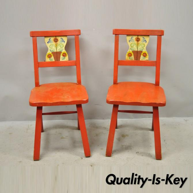 Vintage Gimble's Red Painted Colonial Hand Painted Flower Side Chairs - a Pair