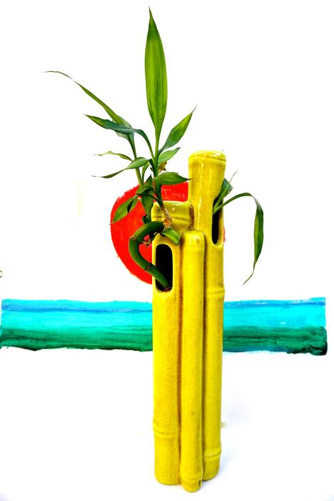 Vintage Ceramic Bamboo Ikebana Wall Vase || Chartreuse Mid-Century ...