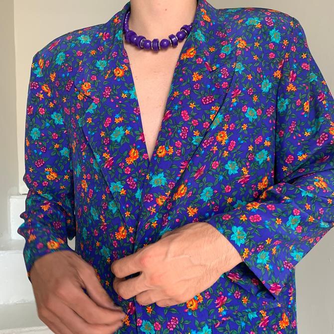 1980s Silk LIZ CLAIBORNE Pantsuit Bright Blue With Tiny Floral Print Size Medium Vintage by AmalgamatedShop