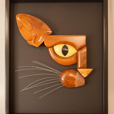 Handcarved Wooden Cat Face, Abstract Fine Art, Gallery Piece, Modern Art, Hand crafted, Unique Wall Hanging, Metal, Wood, Paint, Framed by CaptivaHomeDecor