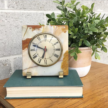 Vintage Marble Clock Retro 1930s Movement by Sessions + Art Deco + Brass + Glass Front + Roman Numeral +  Plug in + Desk Clock + Home Decor by RetrospectVintage215