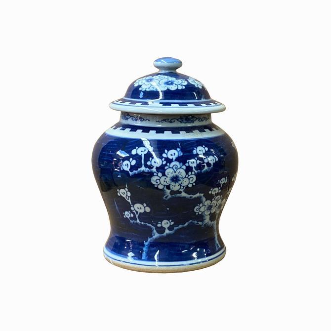 Chinese Blue White Porcelain Blossom Flowers Graphic Temple Jar ws1412E by GoldenLotusAntiques
