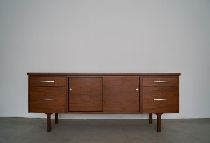Gorgeous 1960's Mid-century Modern Walnut Credenza Professionally Refinished! by CyclicFurniture