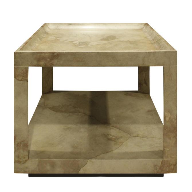 "Karl Springer ""Triangular Leg"" Coffee / End Table in Goat Skin 1970s"
