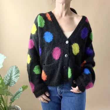 Vintage 80's Black Mohair Dots Cardigan Sweater, Size M by Northforkvintageshop