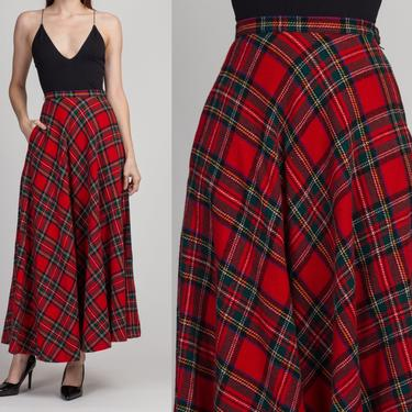 60s 70s Plaid High Waist Hostess Skirt - Extra Small | Vintage Peck & Peck Red Wool Long A Line Maxi Skirt by FlyingAppleVintage
