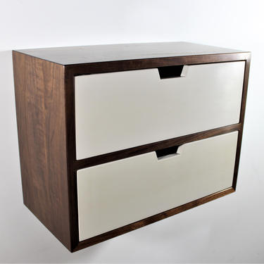 Custom walnut two drawer floating entry table or nightstands please contact for shipping quote by GRWoodworker