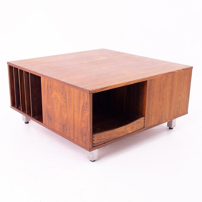 Mid Century Rosewood and Chrome Coffee Table Storage Cabinet - mcm by ModernHill