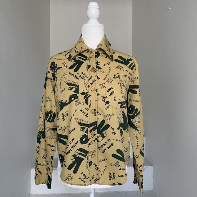 "Rare Make Love Not War 1960's/70's Counter Culture Hippie Shirt 44"" Bust Vintage by AmalgamatedShop"