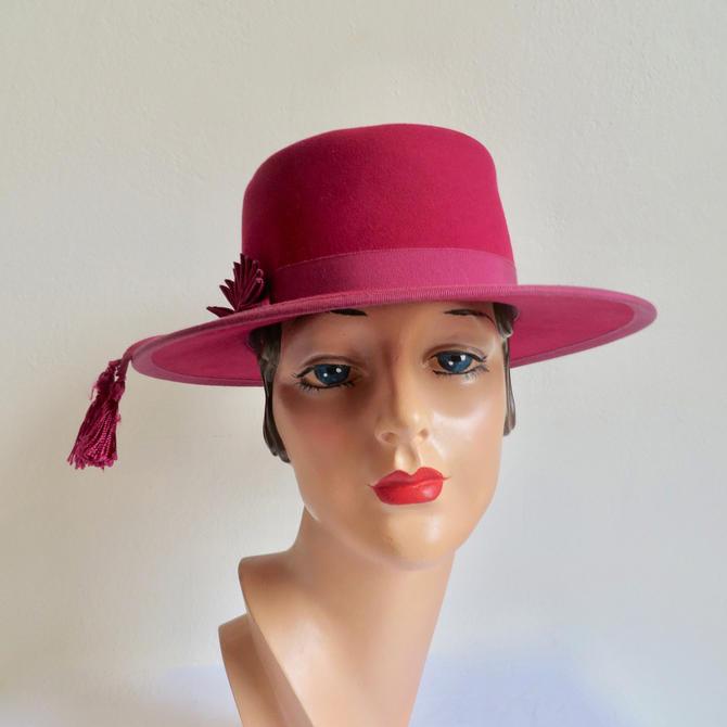 Vintage 1950's Rasberry Red Felt Spanish Bolero Style Hat Flamenco Dancer Nautilus Tassels Trim BabetteKaufman's 50's Millinery Medium by seekcollect