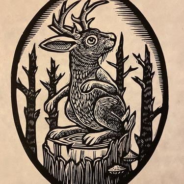 Jackalope Block Print by WoodcutEmporium