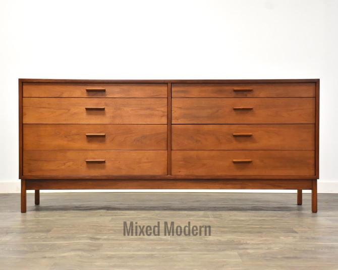 Walnut MCM Long Dresser by mixedmodern1