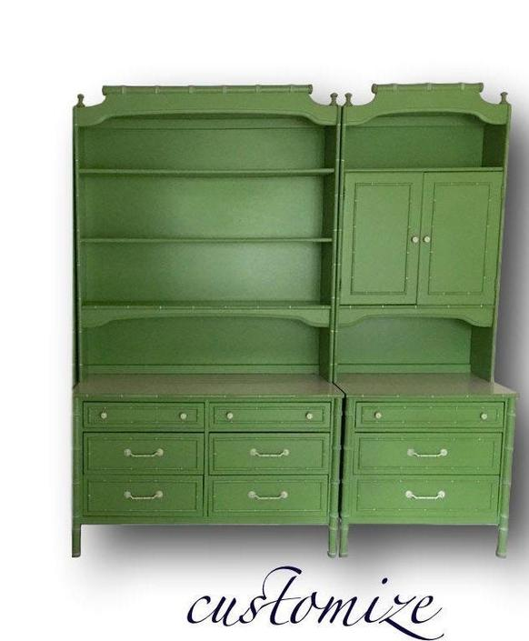 faux bamboo dresser Hutch Many combinations by Dianemarieshome