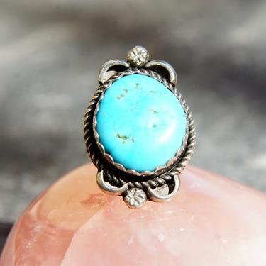 Vintage Navajo Sterling Silver Turquoise Ring, Blue Turquoise Stone In Oxidized Setting, Hammered Details, Split Prong Band, Size 4 3/4 US by shopGoodsVintage
