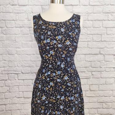 Vintage 90s Floral Dress // Navy Corset-Back A-Line by GemVintageMN
