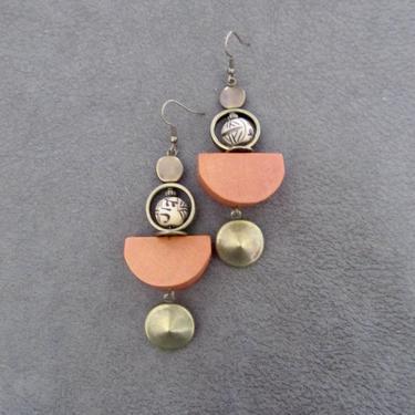 Bold orange earrings, wooden geometric earrings, mid century modern earrings, carved bone earrings, statement unique earring, tibet by Afrocasian