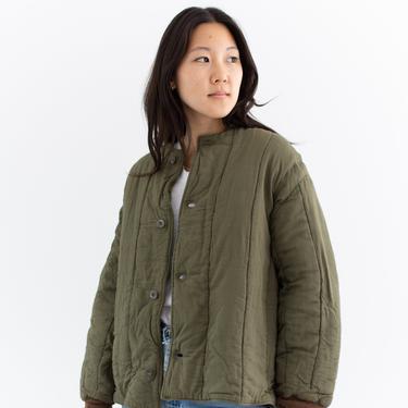 Vintage Olive Green Cotton Quilt Jacket | Puffer Coat | Liner | M L | CC002 by RAWSONSTUDIO
