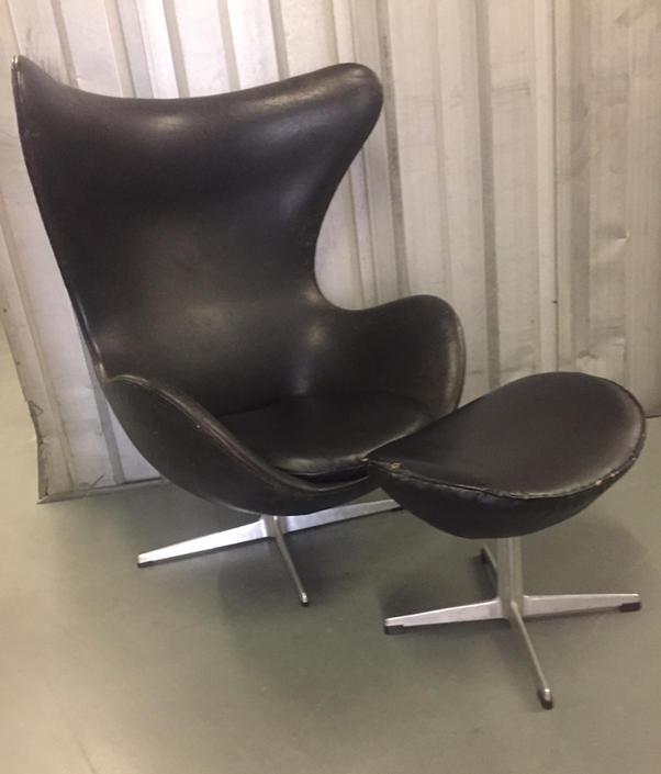 Original Vintage Arne Jacobsen Leather Egg Chair & Ottoman Fritz Hansen