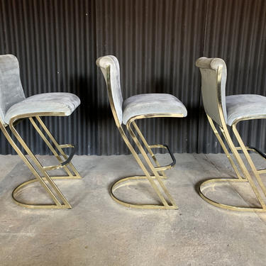 Set of Three Brass Stools in the Style of Pierre Cardin by HermansSteelGarage