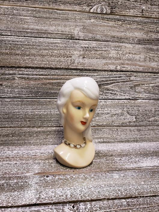 Vintage Lady Head Vase, Vintage Ucagco Woman Planter, Mid Century Modern, Long White Hair Green Eyes, Gold Necklace, Vintage Home Decor by AGoGoVintage