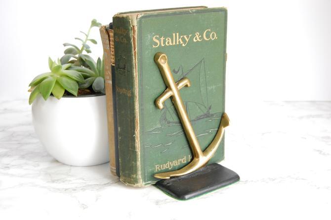 Vintage Brass Anchor Bookend Nautical Decor Navy Sailing Anchor Decor by PursuingVintage1