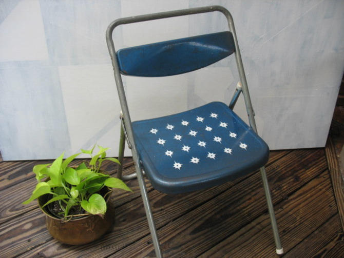 Mid Century Modern Child's Folding Chair, Blue Retro Atomic Children's Chair, Blazon Foldable Kid's Chair by luckduck