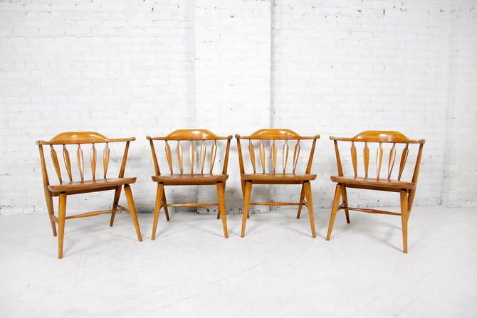 Vintage set of 4 windsor captain dining chairs | Free shipping ONLY in NYC area by OmasaProjects